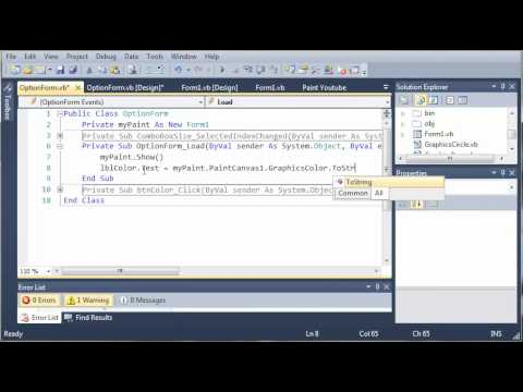 Visual Basic Tutorial - 176 - Paint Part 9   Changing The Brush Color
