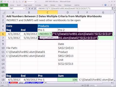 Excel Magic Trick 892: Add Numbers Between 2 Dates w Multiple Criteria from Multiple Workbooks