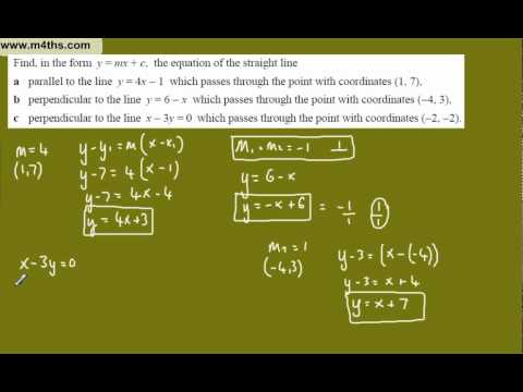 (j) Core 1 Coordinate geometry (basic parallel and perpendicular lines)