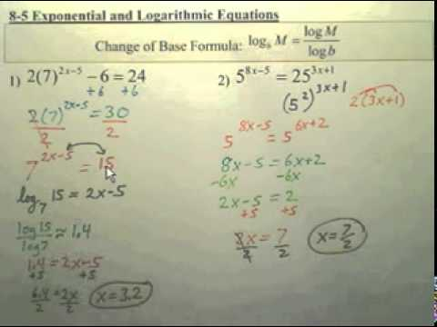Review Ch 8 Notes on Logarithms - Algebra 2