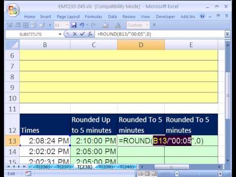 Excel Magic Trick #238: Round Times To 5 Minutes