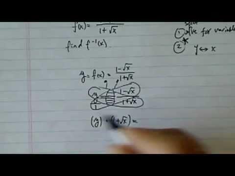 Inverse Function:  f(x)=(1-sqrt(x))/(1+sqrt(x)),  f^(-1)(x)=?