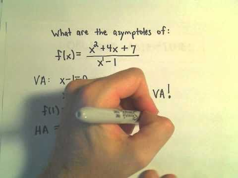 Find Asymptotes of a Rational Function (Vertical, Horizontal and Oblique/Slant) - Ex 1