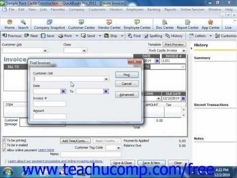 QuickBooks 2011 Tutorial Finding Transaction Forms Intuit Training Lesson 7.4