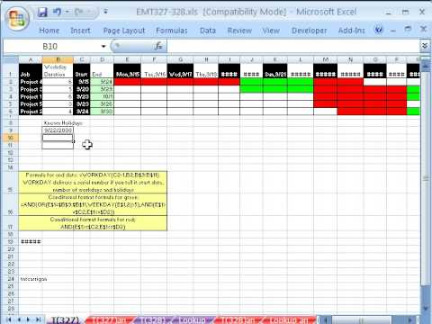 Excel Magic Trick 327: Gantt Chart with Weekends and Holidays