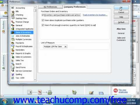 QuickBooks 2011 Tutorial Setting Up Inventory Intuit Training Lesson 5.1