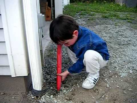 Kid Plays With Toy Jack Hammer & Finds Pill Bug