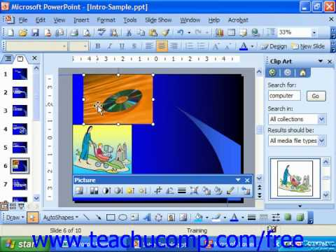 PowerPoint 2003 Tutorial Moving Clip Art Microsoft Training Lesson 9.4