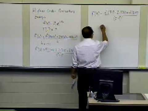 Numerical Differentiation of Continuous Functions: Higher Order Derivatives: Example