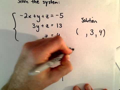 System of 3 Equations, 3 Unknowns Using Substitution - Basic Example