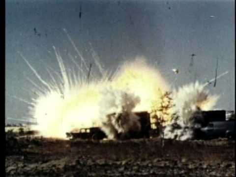Napalm being tested on various vehicles.