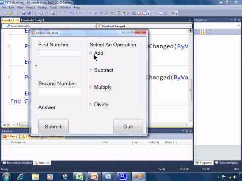 Visual Basic 2010 Express Tutorial 5 - Simple Calculator Part 2 - RadioButtons