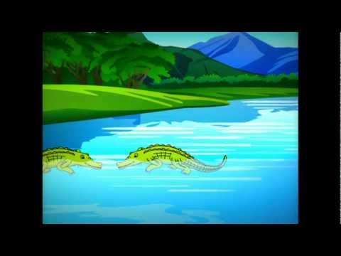 The crocodile and the monkey - Animated cartoon story for kids