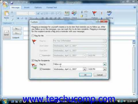 Outlook Tutorial Message Flags Microsoft Training Lesson 3.3