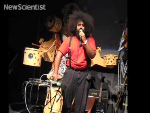 Reggie Watts perfoms robot rap