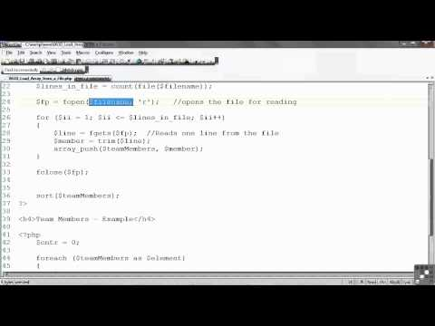 PHP / MySQL Tutorial | Loading an Array for a File | InfiniteSkills