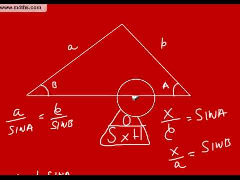 Sine Rule Proof and examples GCSE maths Higher trigonometry
