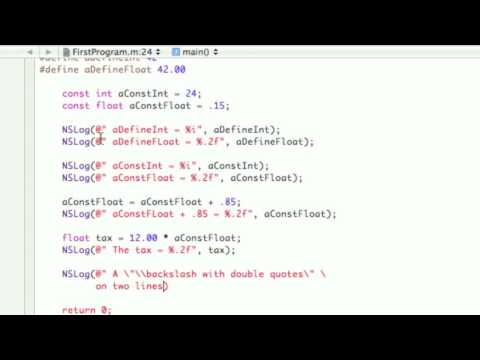 Objective-C Tutorial - Lesson 7: Part 2: Xcoding Constants