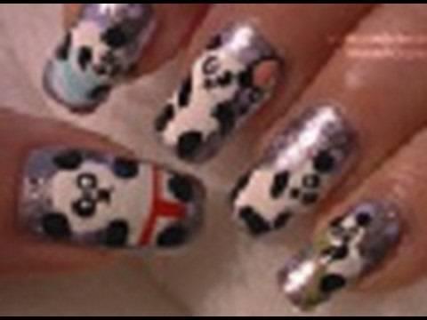 PANDAS!!!! Nail Art Tutorial / Arte para las uñas  de pandas