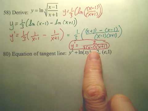 5.1 Natural Logarithmic Differentiation Practice B - Calculus