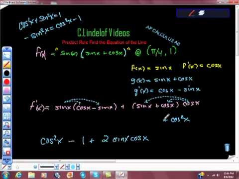 AP Calculus AB Product Rule Find an Equation of the Line Tangent to Function