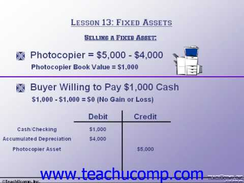 Accounting Tutorial Selling a Fixed Asset Training Lesson 13.2