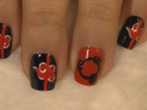 Akatsuki Inspired Nail Art / Arte para las uñas con diseño de Akatsuki