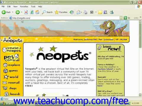 Windows XP Tutorial Great Sites on the Internet Microsoft Training Lesson 9.5