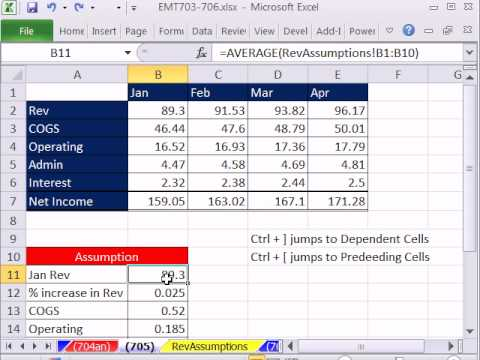 Excel Magic Trick 705: Keyboard Shortcut for Finding Formula Dependents and Precedents
