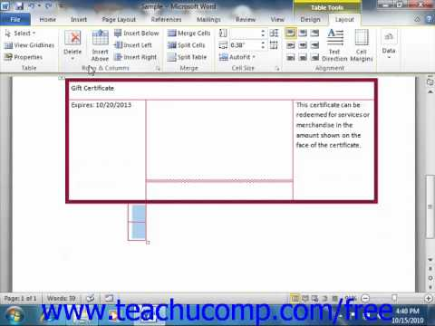 Word 2010 Tutorial Deleting Cells and Tables Microsoft Training Lesson 16.5