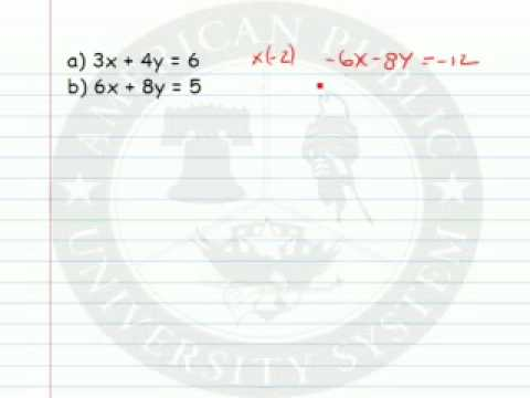 Solving a System of Linear Equations by Algebra