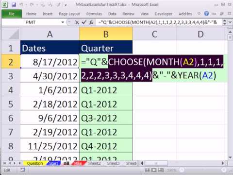 Mr Excel & excelisfun Trick 97: Determine Quarter For column of Dates: CHOOSE or CEILING function?