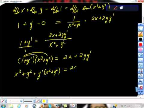 Find an Equation of the Line Tangent to the Graph Implicitly ln(x)
