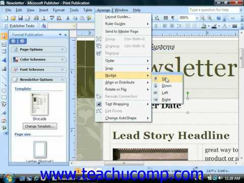 Publisher Tutorial Moving and Nudging Objects Microsoft Training Lesson 3.5