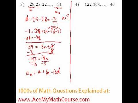 Arithmetic Sequences - Finding the Number of Terms #3-4
