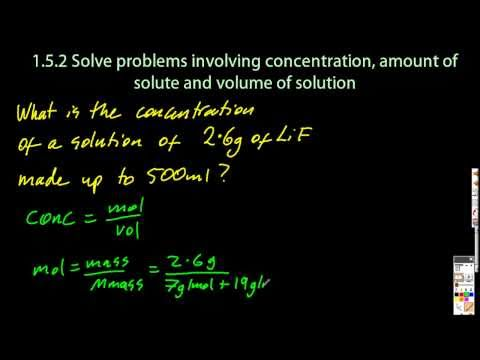 1.5.2 Solve Problems Using Concentration, Amount of Solute and Volume of Solution  IB Chemistry SL