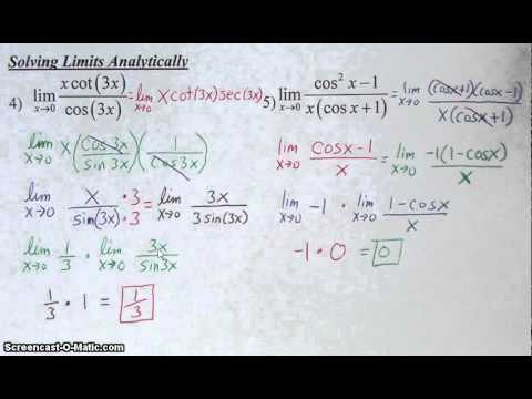 Solving Trig Limits Analytically
