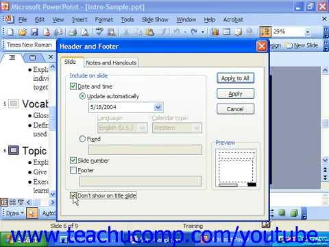PowerPoint 2003 Tutorial Setting the Slide Header and Footer Microsoft Training Lesson 5.3