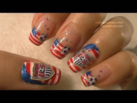 US and 4th of July Nail Art Tutorial / FIFA Mundial 2010 Estados Unidos Arte para las unas