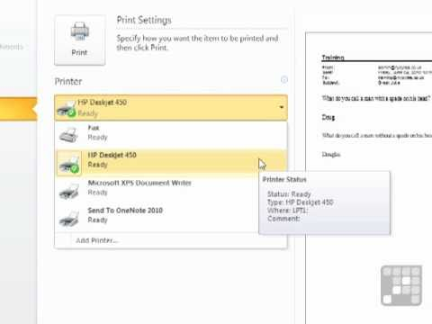 Outlook 2010 Tutorial - How to Print Emails