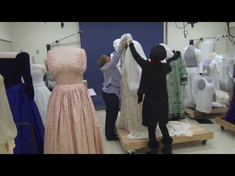 Preparing the gowns for the First Ladies Exhibition (Michelle Obama inaugural gown donation)
