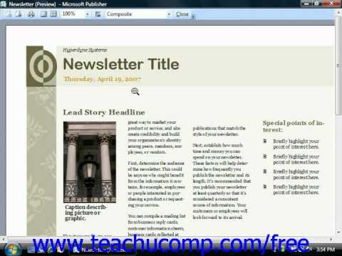 Publisher 2003 Tutorial Previewing Your Publication Microsoft Training Lesson 13.5
