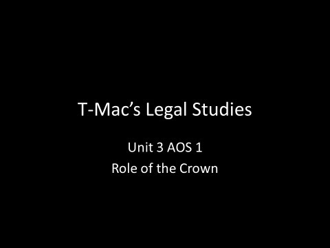 VCE Legal Studies - Unit 3 AOS1 - Parliament - Role of the Crown