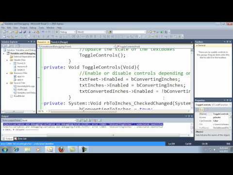 Visual C++ 2010 Express Tutorial 7 - Container Controls Part 2 - Functions