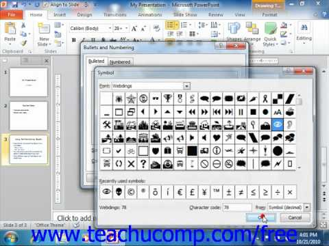 PowerPoint 2010 Tutorial Applying Custom Bullets and Numbering Microsoft Training Lesson 4.5