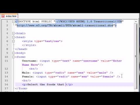 XHTML and CSS Tutorial - 41 - Check Boxes & Radio Buttons