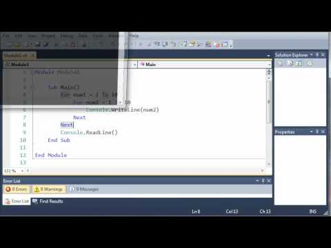Visual Basic Tutorial - 34 - Nested Loops