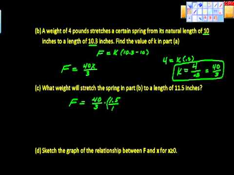 Variation Word Problem (Hooke's Law)