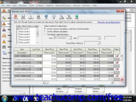 Peachtree Tutorial Changing Item Prices Sage Training Lesson 6.6