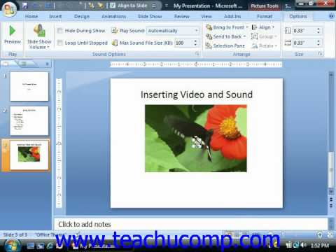 PowerPoint Tutorial Inserting Audio Microsoft Training Lesson 12.2